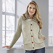 button front fur sweater