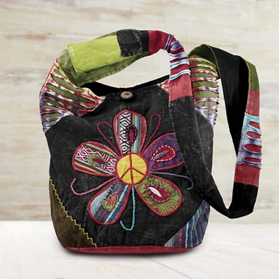 Peace Patch Floral Fabric Bag