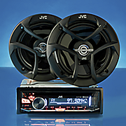 car stereo package with cd receiver and 2 way speakers by jvc