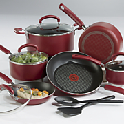 12 pc  color luxe cookware set by t fal