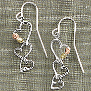 black hills gold triple heart earrings