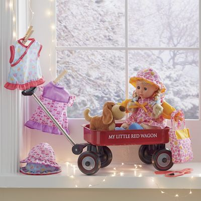 Doll with Wagon & Puppy