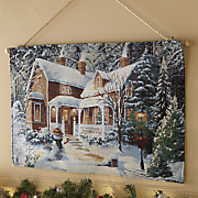 Fiber Optic Winter House Wall Hanging
