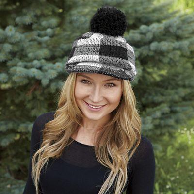 Checkered Pom-Pom Hat