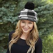 checkered pom pom hat