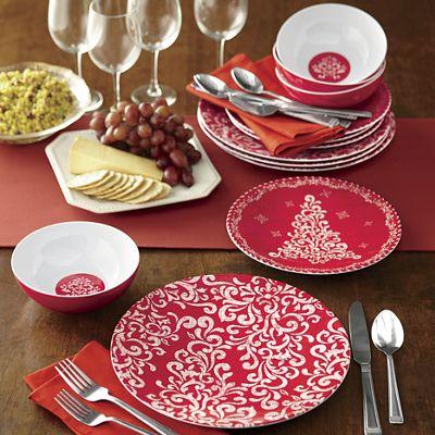 12-Piece Holiday Melamine Dinnerware Set