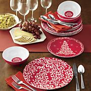 12 pc  holiday melamine dinnerware set