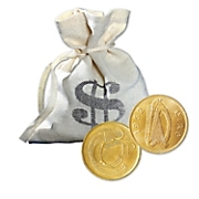 Bankers Bag of Gold-Plated Lucky Irish Pennies