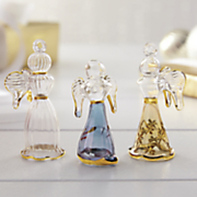 set of 3 glass angel ornaments