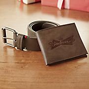 men s budweiser belt   wallet set