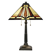 Mission-Style Dual-Light Stained Glass Table Lamp