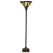 mission style stained glass torchiere floor lamp