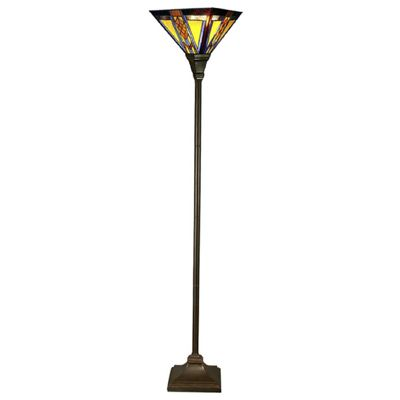 Mission-Style Stained Glass Torchiere Floor Lamp