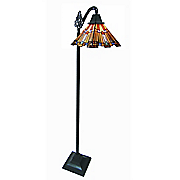 mission style pharaoh s jeweled stained glass sidearm floor lamp