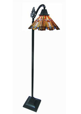 Mission-Style Pharaoh's Jeweled Stained Glass Sidearm Floor Lamp