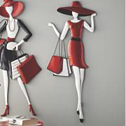 black dress shopping lady art