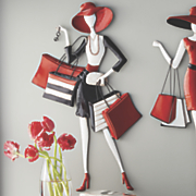 sassy shopping lady art in red and black