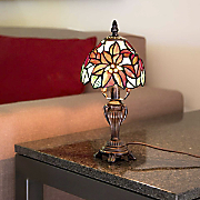 stained glass poinsettia accent lamp