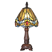 Stained Glass Mini Peacock-Feather Accent Lamp