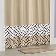 alfombra de baño con cortina de ducha