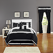 urban lux embroidered 7 pc  bed set and window treatments
