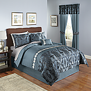 manchester jacquard comforter set  decorative pillows and window treatments