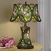 double lit tulip stained glass lamp