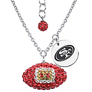 nfl crystal football necklace