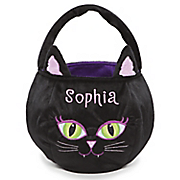 personalized black cat halloween basket