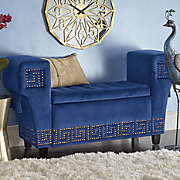 square arm upholstered storage bench