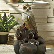 lighted owl fountain table