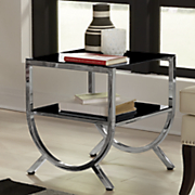 half round glass side table
