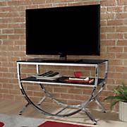 half round glass tv stand