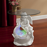 gazing angel table fountain with led lights