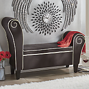 spiral upholstered storage bench