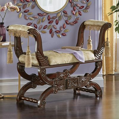 Carved Wood and Upholstered Bench