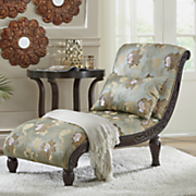 floral chaise with embossed wood detail