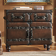 Faux Leather Cabinet Console