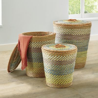 Set of 3 Baskets with Lids