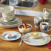 garden rooster dinnerware  canister set  tea kettle and tool crock