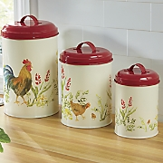 3 pc  garden rooster canister set by paula deen
