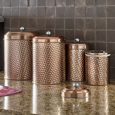 Slow Juicer Mauritius : 4-Piece Mauritius Hammered Copper Canister Set from Montgomery Ward 745513