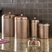 4 pc  mauritius hammered copper canister set