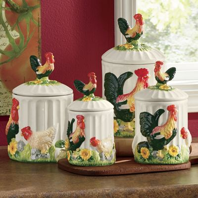4-Piece 3-D Sunflower Rooster Canister Set