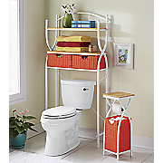 cross basket space saver and toilet paper holder