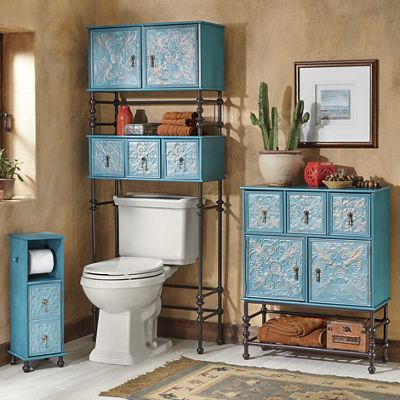 Embossed Floral Toilet Paper Stand, Space Saver and Bath Cabinet
