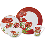 16 pc  poppy field dinnerware set