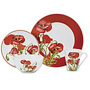 16 pc  poppy field dinnerware set