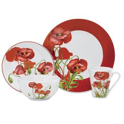 16-Piece Poppy Field Dinnerware Set