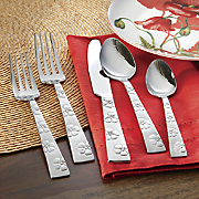 20 pc  hibiscus flatware set by gourmet basics